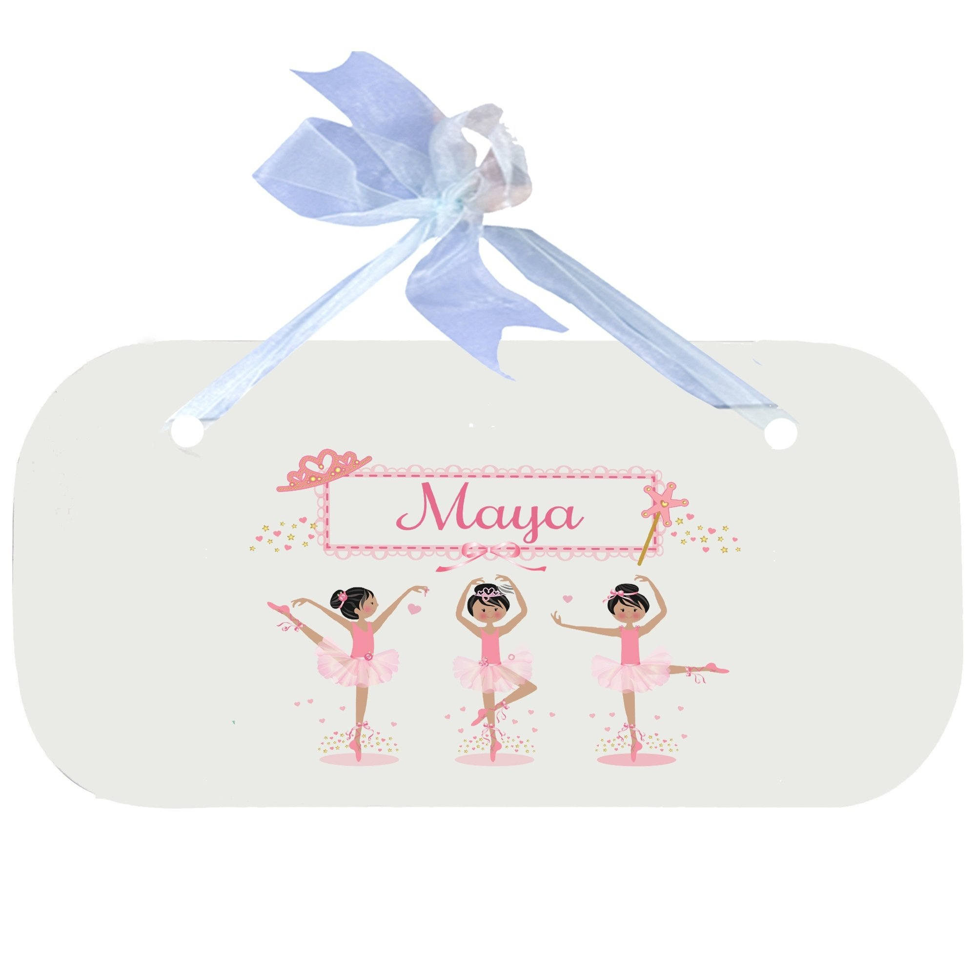 Personalized Ballerina Black Hair Wooden Door Hanger With Blue Ribbon