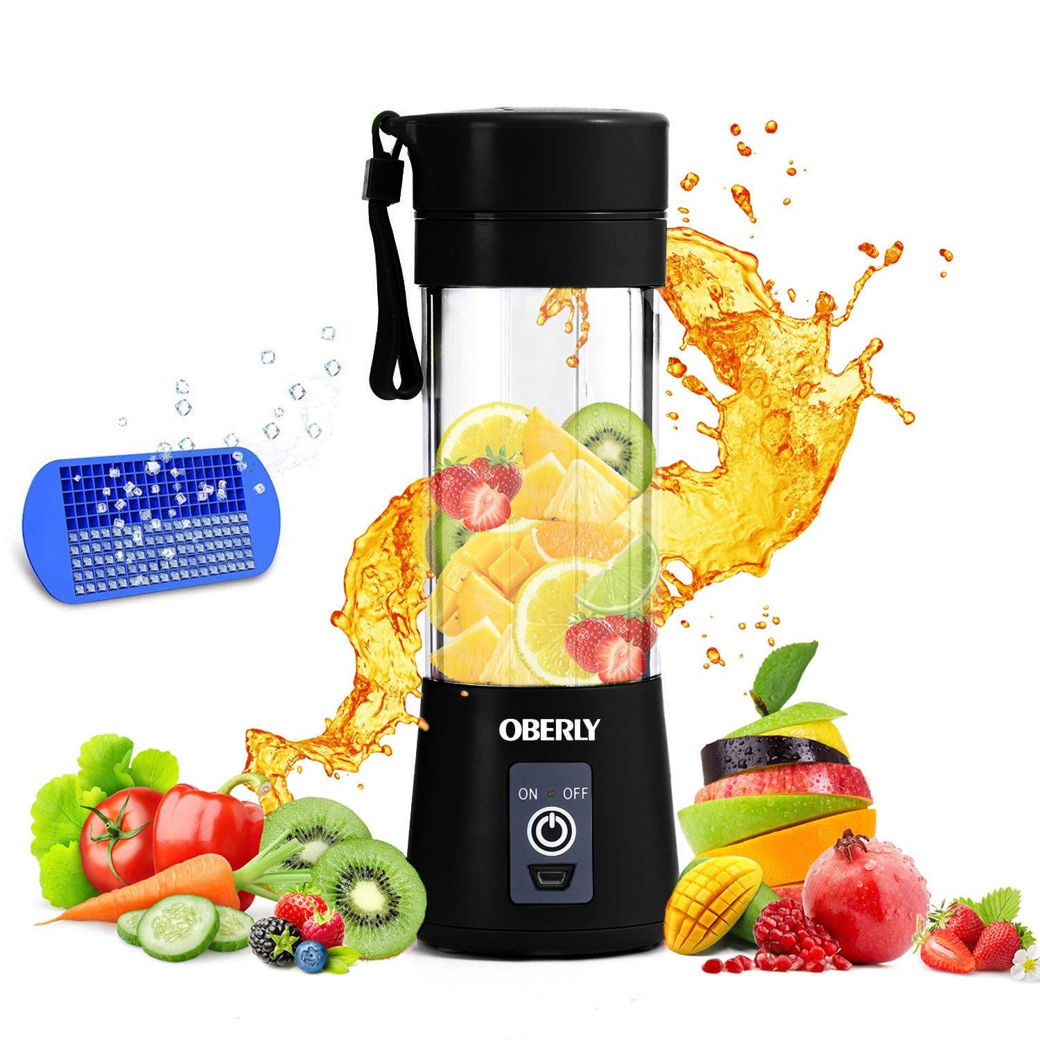 Portable Blender, OBERLY Smoothie Juicer Cup – Six Blades in 3D, 13oz Fruit Mixing Machine with 2000mAh USB Rechargeable…