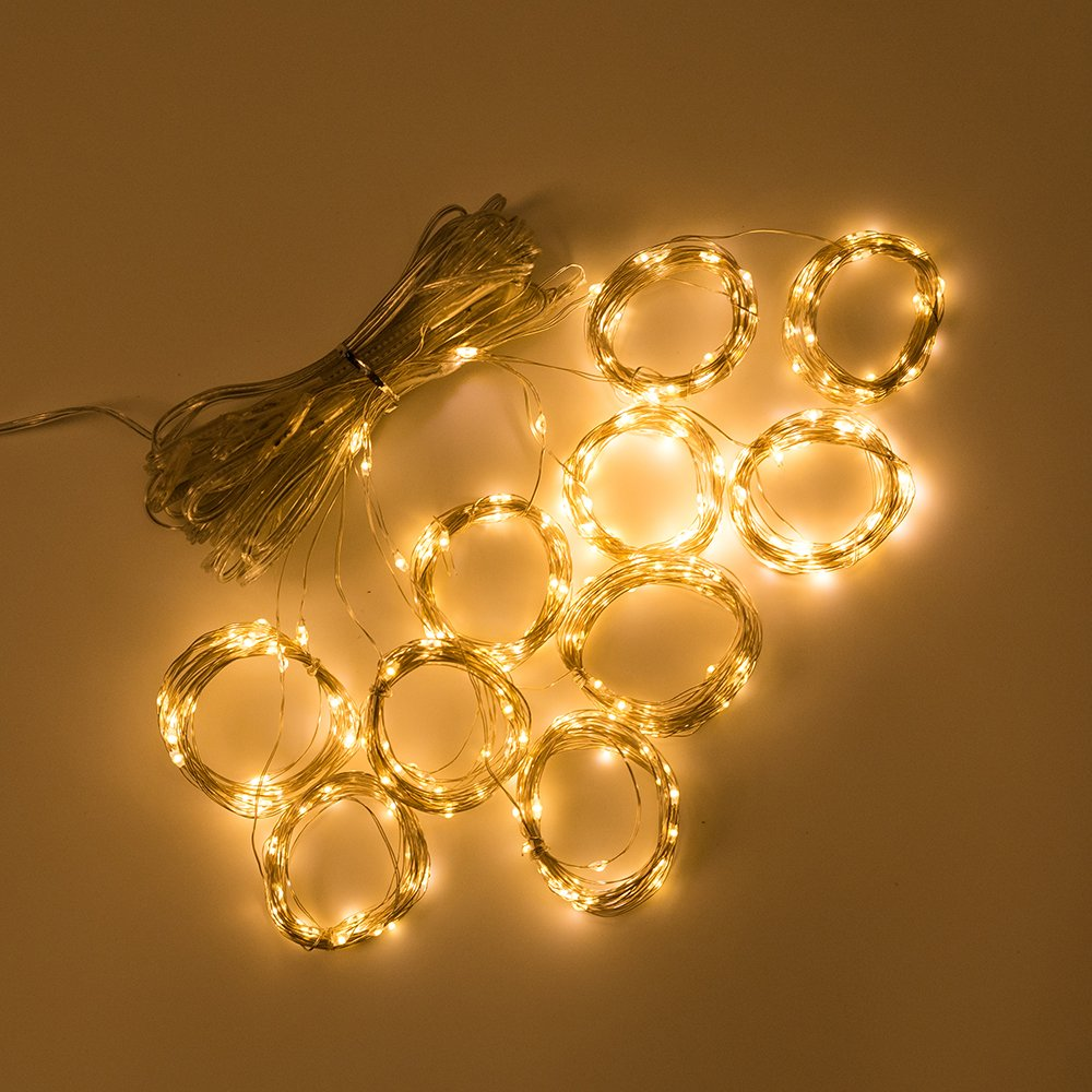 Semoon USB Curtain Lights 300 LEDS Copper Wire String Lights with Remote Control illuminations 9.8ft 8 Mode Window for Indoor Outdoor Christmas Party Bedroom Decor - Warm White