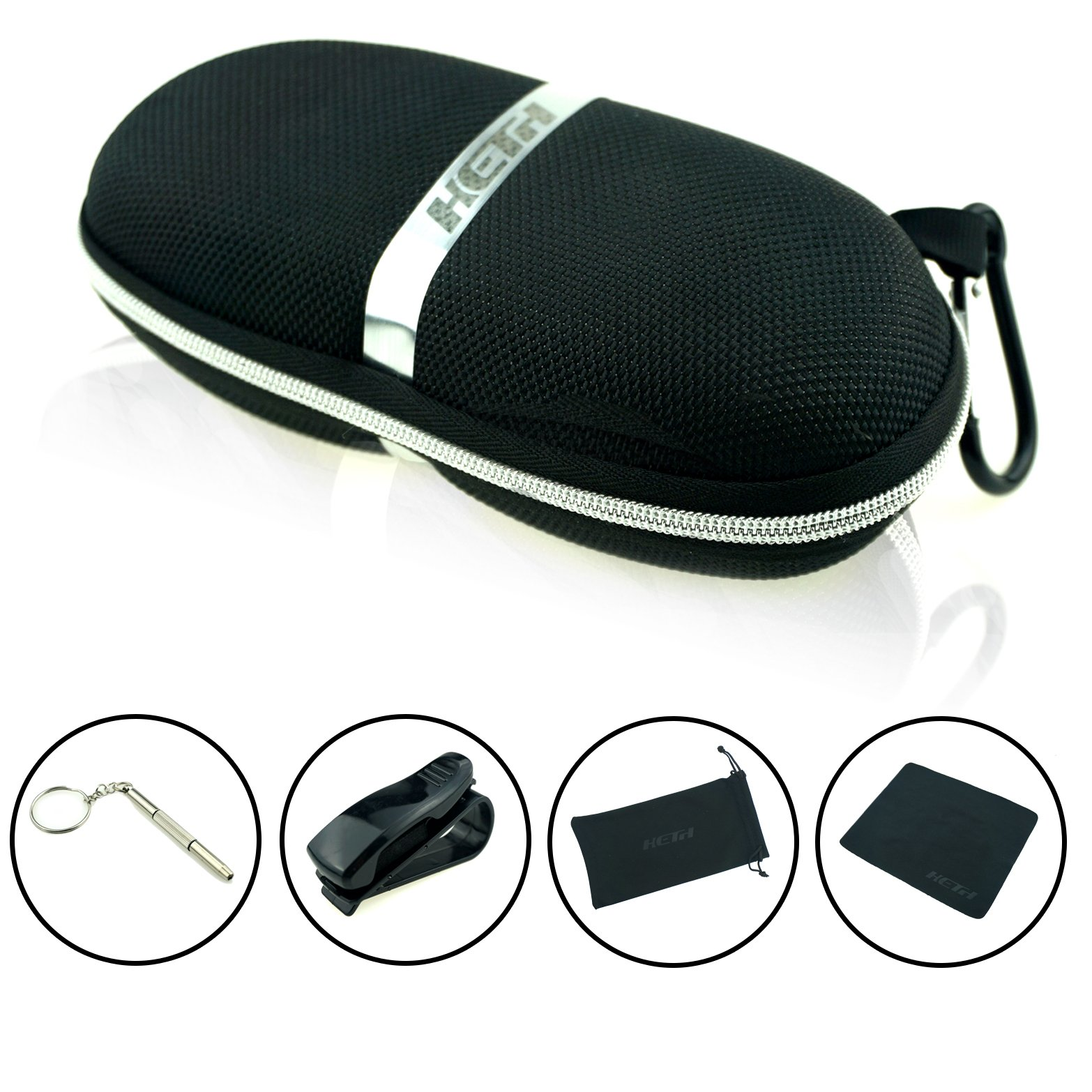 Sunglasses Cases,Semi Hard Portable compressive Strength Travel Zipper Eyeglass Cases with Carabiner. (Black)