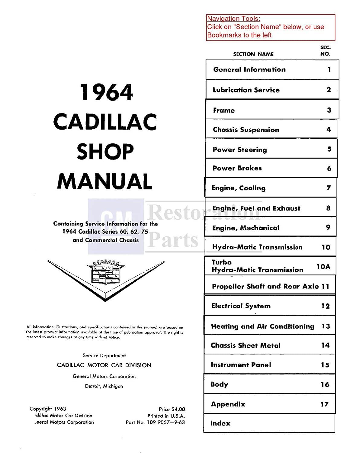 1964 Cadillac Shop Service Repair Manual Book Engine Limousine Wiring Diagram Electrical Drivetrain Automotive