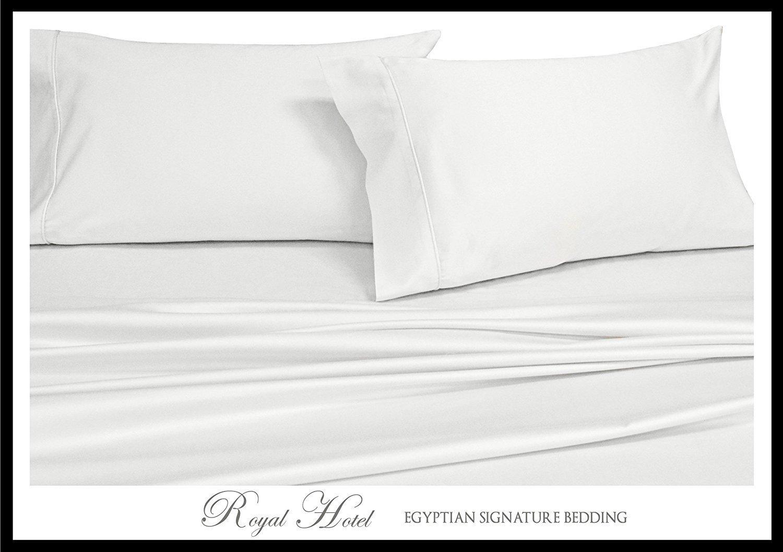 (ロイヤルホテル) Royal Hotel 1000スレッドカウント ベッドシーツセット 100%コットン サテン織り ボックスシーツ Extra-Deep-Queen ホワイト COMIN18JU002688 B019J7HURA ソリッドホワイト Extra-Deep-Queen