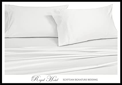 Royal Hotelu0027s Solid White 600 Thread Count 4pc Queen Bed Sheet Set 100%
