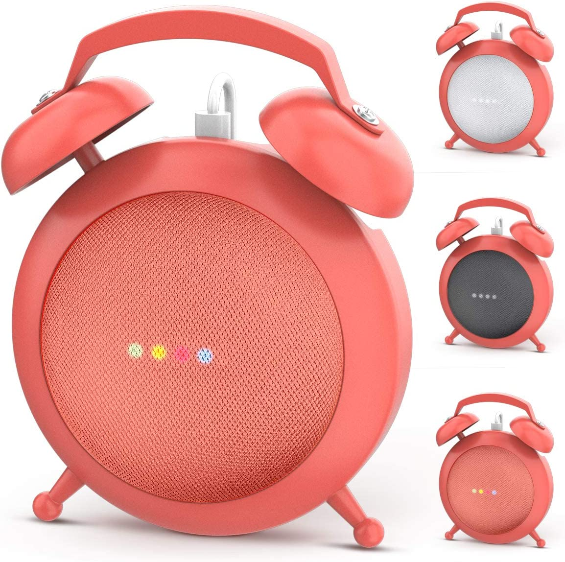 Google Home Mini Stand Holder, Retro Alarm Clock Stand Mount Base Protective Case Compatible with Google Home Mini and Nest Mini(Orange)