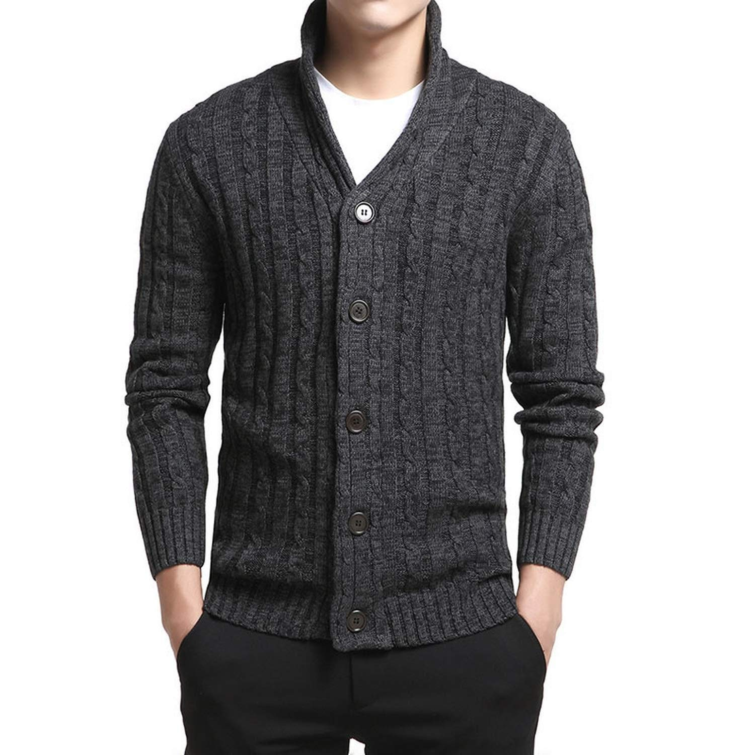 Men V-Neck Solid Slim Fit Knitting Mens Sweaters Cardigan Male 2018 Autumn Fashion Casual
