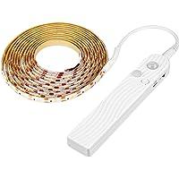 FLAMEER LED şerit, şerit ışık, hareket sensörü, USB/pil ile çalışma, PIR hareket sensörlü esnek dolap gece şerit ışık…