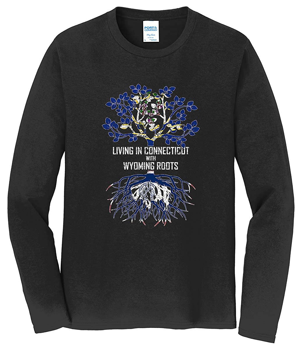 Tenacitee Mens Living in Connecticut Wyoming Roots T-Shirt