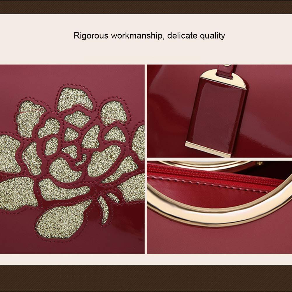 Patentläderhandväska, skinande skal damväska axelväska, trendig vild diagonal väska, en exklusiv gåva för kvinnor, vinröd Rosa