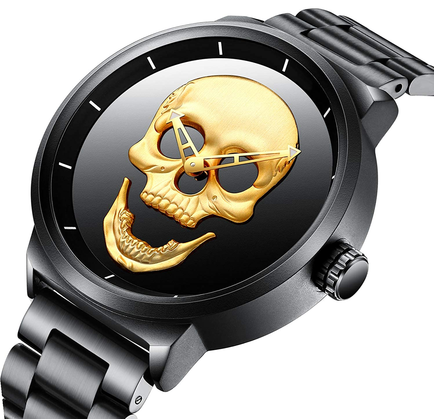84f6eca90782c Watch,Mens Watch,Luxury Classic Skeleton Mechanical Large Face Gold Skull  Stainless Steel Watch with Link Bracelet,Dress Waterproof Watch for Men