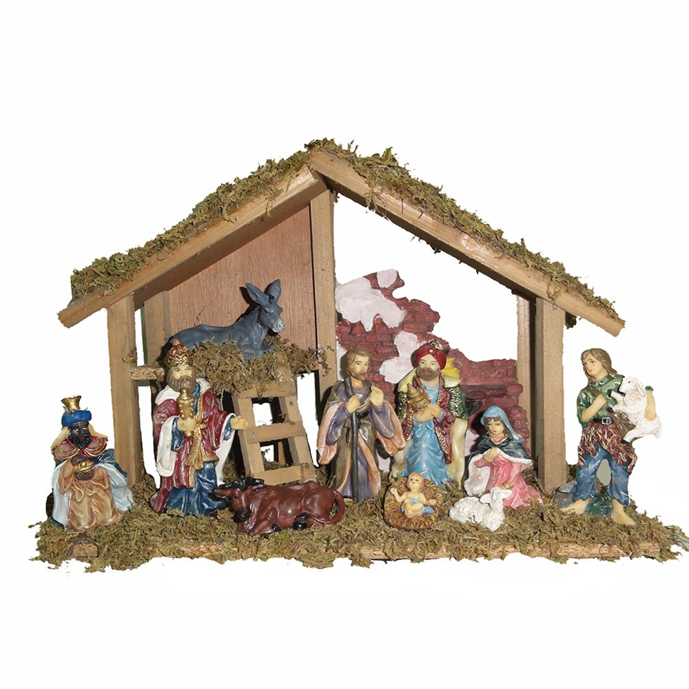 Kurt Adler Nativity Set with 15-Inch Wooden Stable and 10 Resin Figures by Kurt Adler (Image #2)