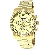 Elegante Pure Time® Damen-Uhr Strass Analog Quarz Armband-Uhr in Rose-Gold Silber-Uhr Gold-Uhr Chronograph Optik Rosegold