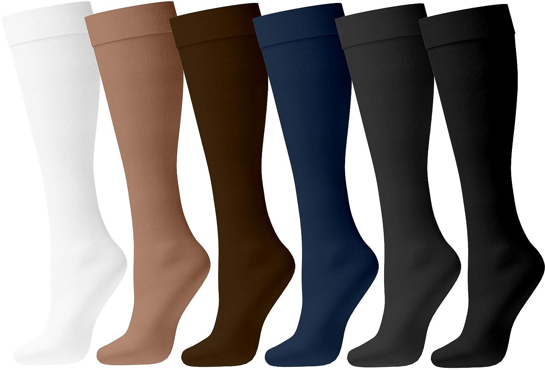Womens Nylon Dress Socks, 6 Pairs Ladies Trouser Sock, Soft Sheer Knee High Opaque Spandex