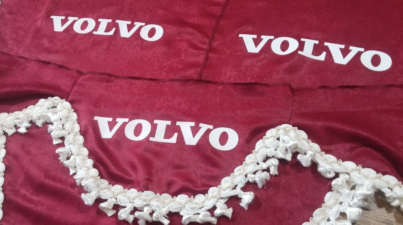 Other Set of 3 Red Curtains with White Tassels UNIVERSAL SIZE Truck All Models Accessories Decoration Plush Fabric