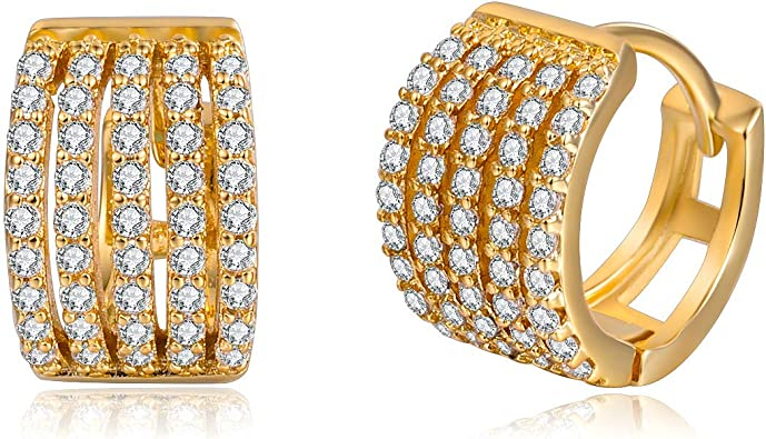 7mm 14k Tri-color Gold Three Rings with White Cubic Zirconia Accent Mini Stud Earrings,