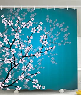 Teal Shower Curtain Pink Blossoms Decor By Ambesonne, Leaves And Plants  Ombre Spring Japanese Sakura
