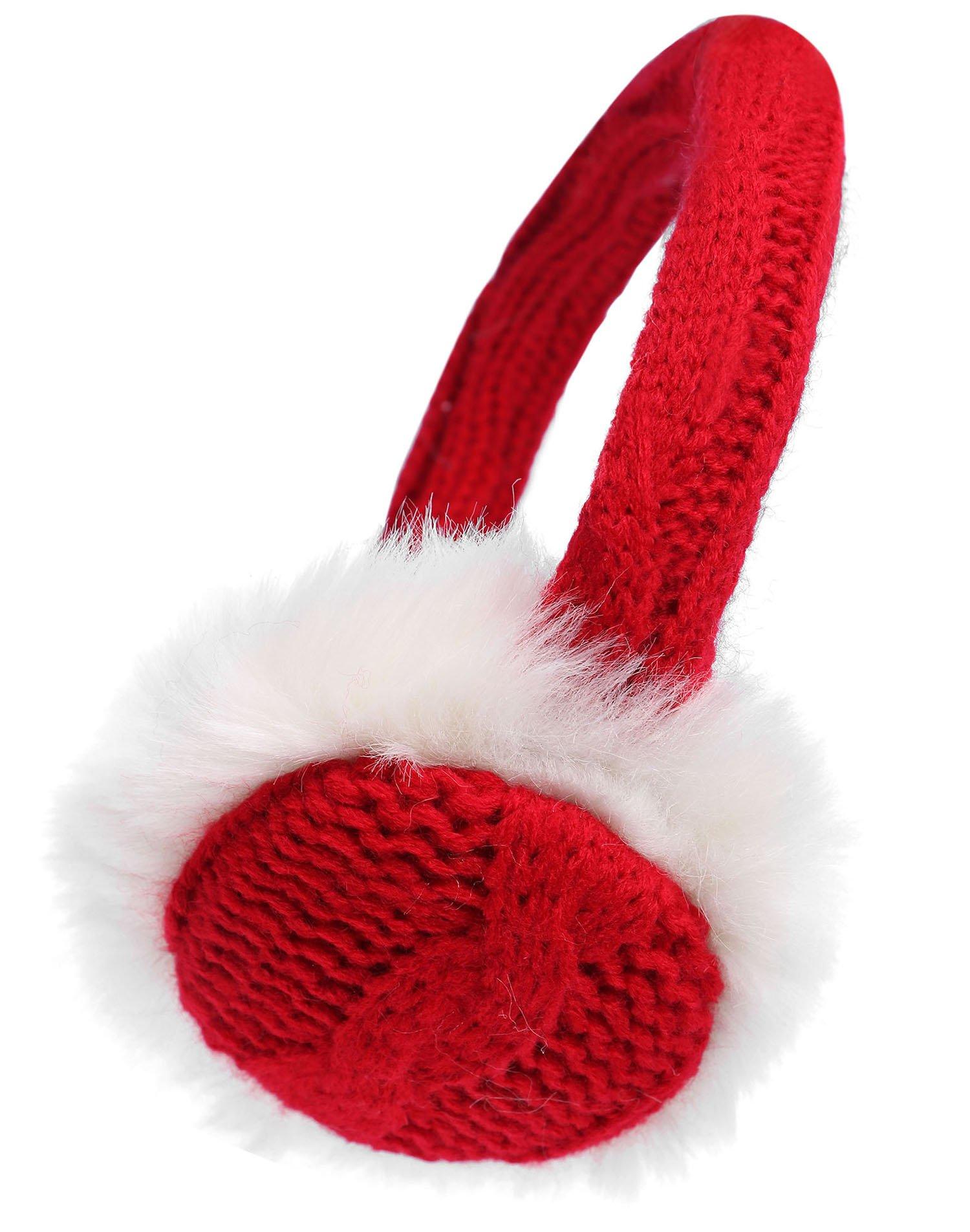 Women's Winter Knit Fluffy Faux Furry Ear Warmer Earmuffs, Bright Red