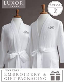 54947a572b Amazon.com  Luxor Linens Egyptian Cotton Hers Waffle Weave Robe ...