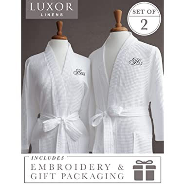 6919027b91 Luxor Linens Egyptian Cotton His   Hers Waffle Robes - Perfect Engagement  Gifts! - His