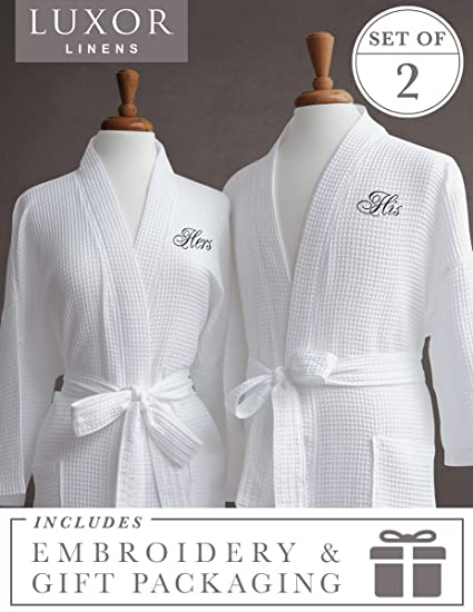 b87e03a985 Image Unavailable. Image not available for. Color  Luxor Linens -  quot His  and Hers Waffle Weave Robe ...
