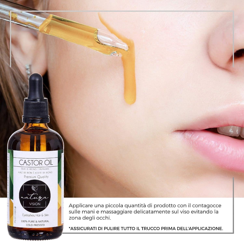Aceite Natural de Ricino, 100% Puro y prensado en frío, para el Crecimiento y Tratamiento del Cabello,las Pestañas, la Piel, la Cara, Kit de Aceite de ricino incluye pinceles de cejas y