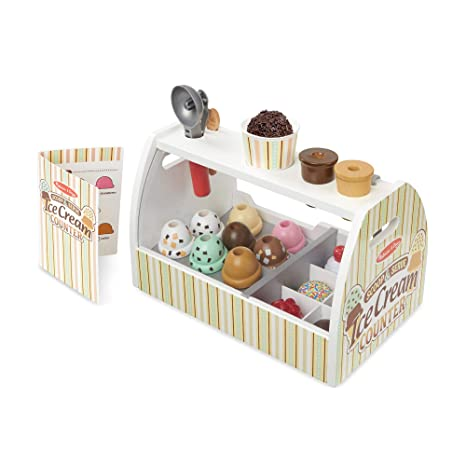 Melissa Doug Wooden Scoop Serve Ice Cream Counter Play Food And Accessories 28 Pieces Realistic Scooper 34 544 Cm H X 21 844 Cm W X 19 558 Cm