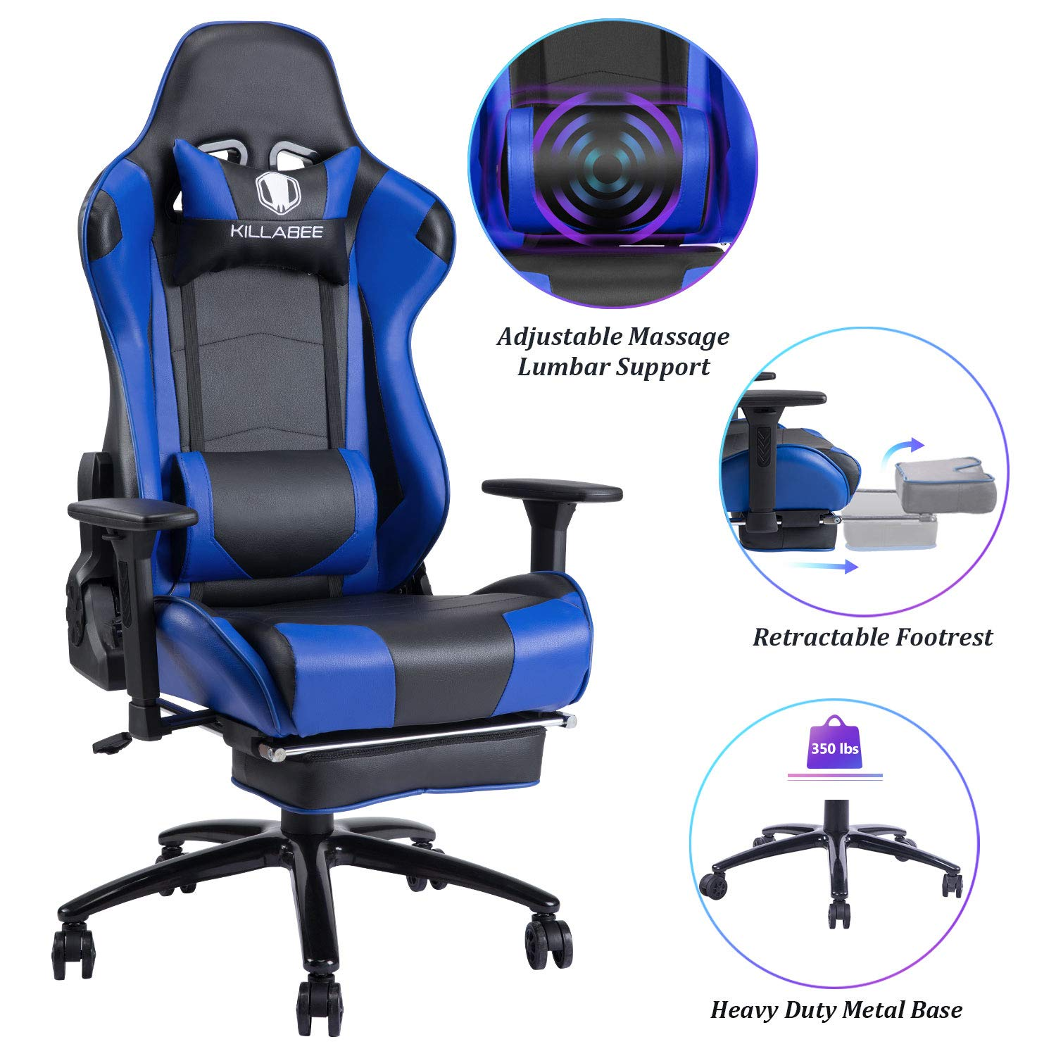 Blue Whale Massage Reclining Gaming Chair – High Back Racing Computer Desk Office Chair Swivel Ergonomic Executive Leather Chair with Footrest and Adjustable Armrests 8280Blue