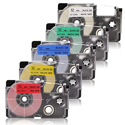 Labelwell 12mm x8m Compatible para Casio XR-12WE XR-12RD XR-12BU XR-12YW XR-12GN Cinta de Etiquetas para Casio KL-60 KL-120 KL-820 KL-60SR KL-70E ...