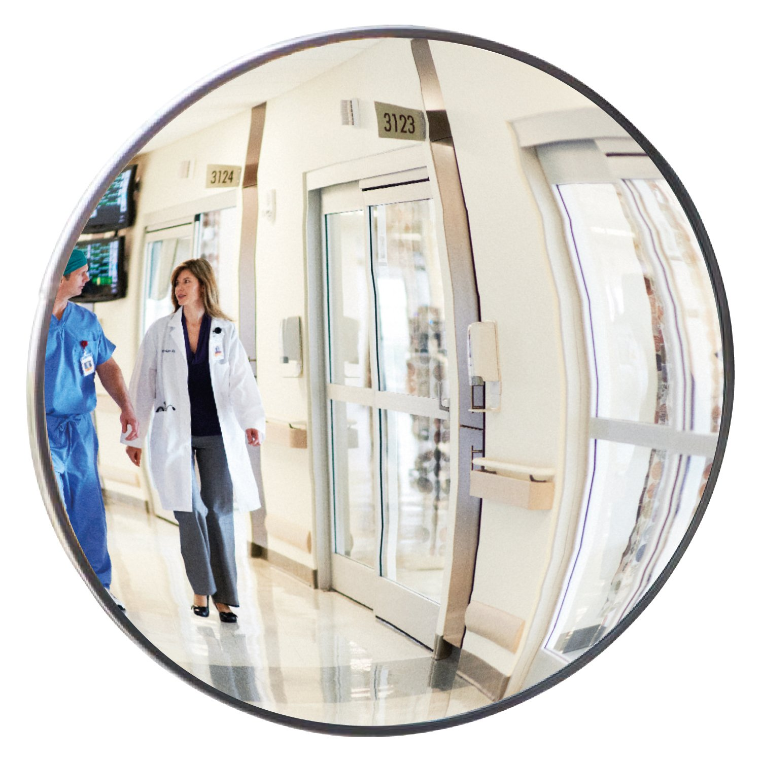 12'' Dia. Hospital Indoor Acrylic Convex Safety Mirror Made in the USA