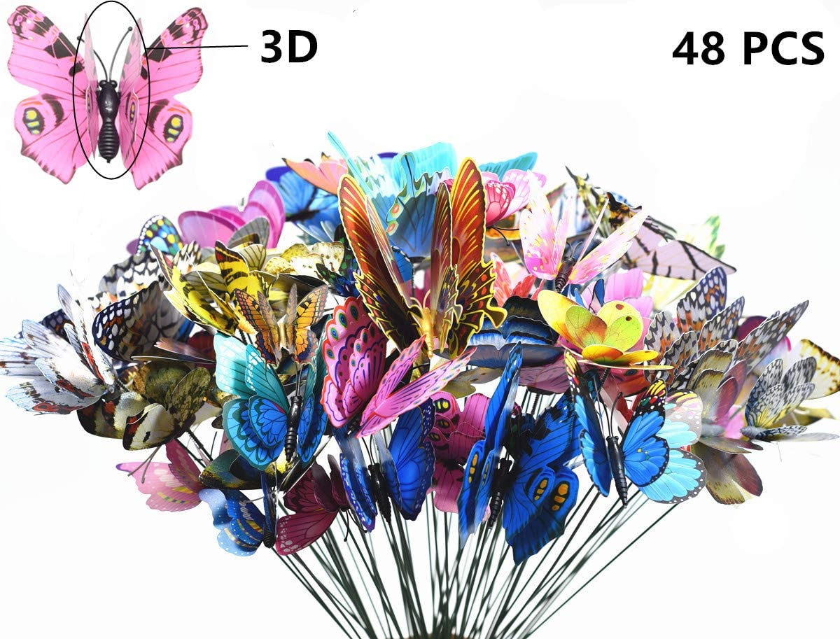 FENELY Butterfly Garden Decor Stakes,Halloween Birthday Party Decorations Christmas Ornament Whimsical Gifts Waterproof 3D Butterflies Outdoor Accessories for Patio Lawn Yard PVC Gardening Art