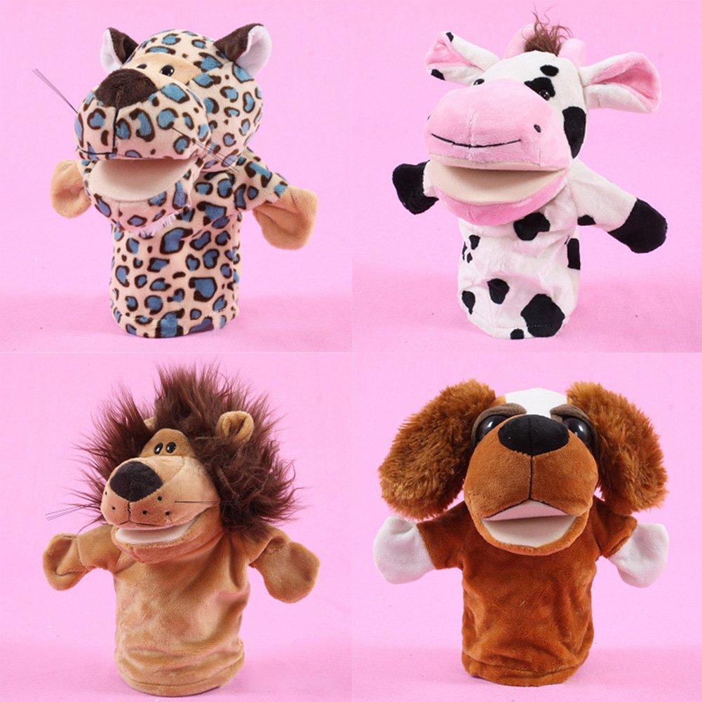 Takefuns 玩具 動物人形 大口 手袋 友達 喋る 物語 教育 幼稚園 子供 プレゼント ロールプレイ ライオン 狼 (A37) A37-4pcs A37-4pcs B077TPLVXH