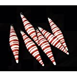 """6ct Peppermint Twist Candy Cane Shatterproof Icicle Christmas Ornaments 6"""""""