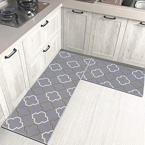 Multi Use Kitchen Rug Sets Crystal Stitch Thick Cushioned Waterproof Kitchen Floor Duty Comfort Mats,Super Absorbent and Non-Slip