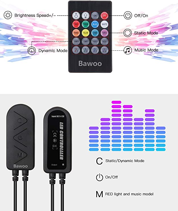 Voiture LED Bande Lumi/ère RGB 7Color LED Lumi/ère Au N/éon Musique Musique T/él/écommande /Éclairage Int/érieur De Voiture /Éclairage 4pcs Bande