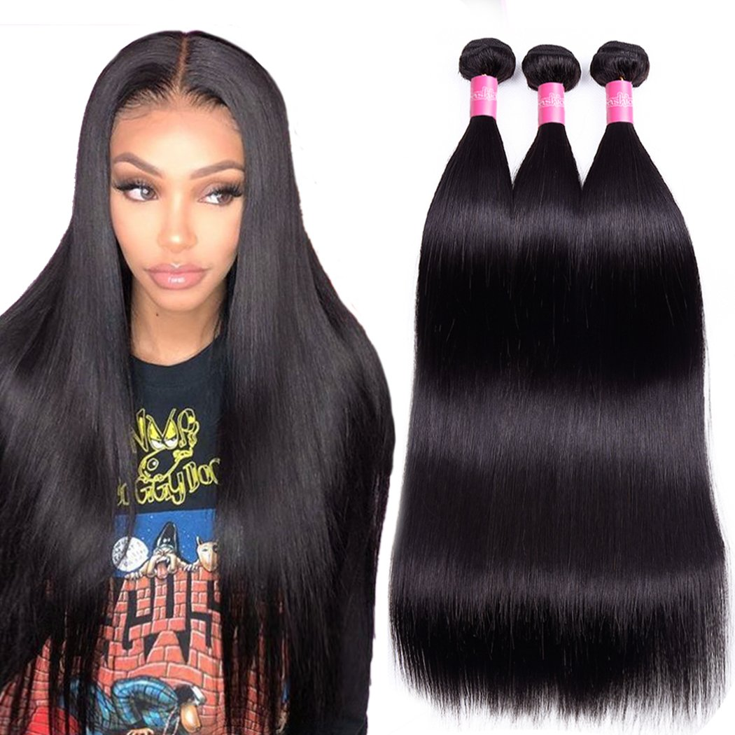 Brazilian Straight Virgin Hair Weave 3 Bundles 10A Grade 100% Unprocessed  Brazilian Hair Bundles Straight Human Hair Extensions 16 18 20inches  Natural Color 49795e83ea