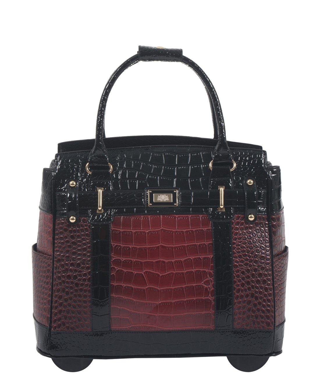 ''Baton Rouge'' Burgundy & Black Alligator Computer iPad, Laptop Tablet Rolling Tote Bag Briefcase Carryall Bag
