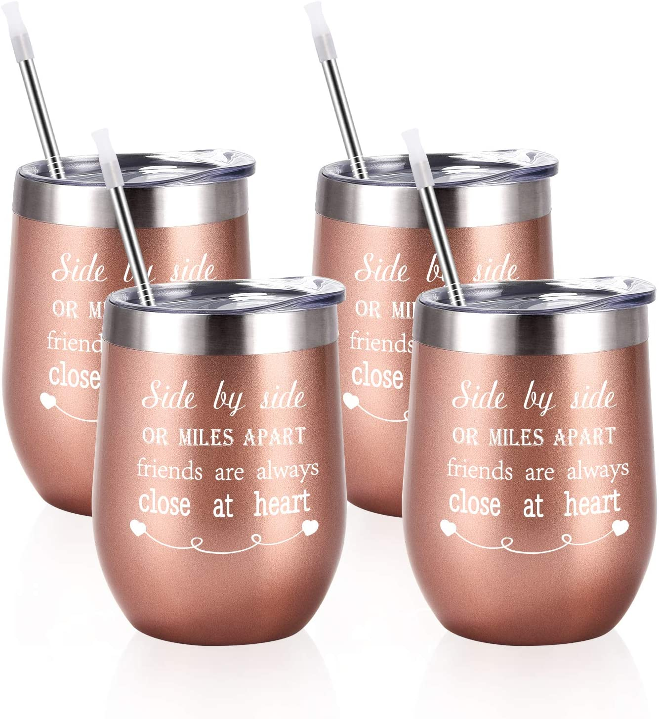 Friends Wine Tumbler Set of 4, Side By Side or Miles Apart Friends Are Always Close at Heart Wine Tumbler for Long Distance Friendship, 12 Oz Stainless Steel Insulated Wine Tumbler with Lid and Straw