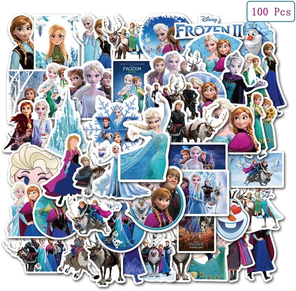 100 Pcs Frozen Stickers, The Frozen Waterproof Vinyl Sticker for Water Bottles Laptop Bike Car Refrigerator Luggage Cup Computer Mobile Phone Locker Skateboard Frozen Anna and Elsa Stickers Decals