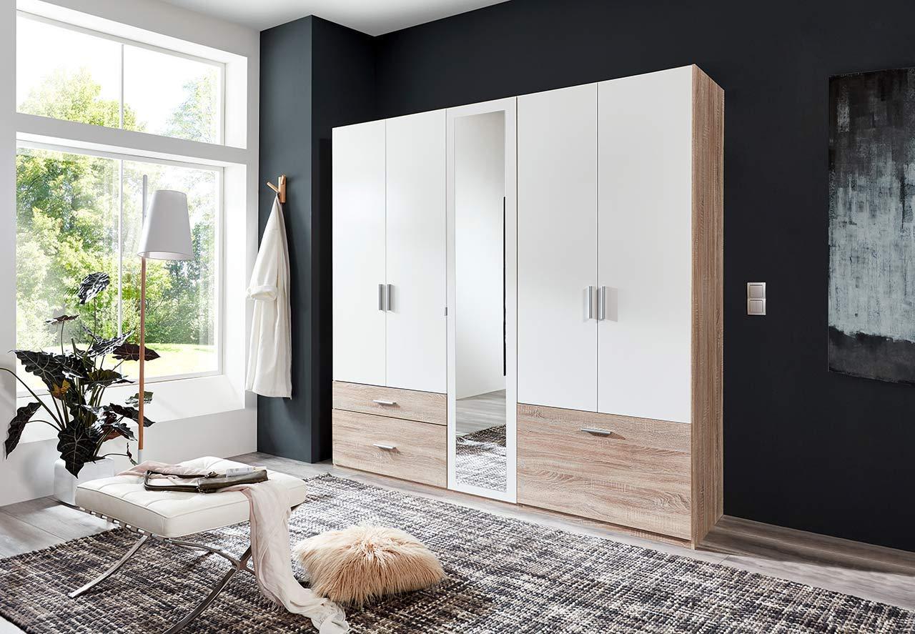 lifestyle4living Kleiderschrank in Weiß mit Absetzungen in Eiche-Sägerau-Dekor, Drehtüren-Schrank mit viel Stauraum im modernen Dsign, Schrank mit Schuhfach, 225 cm