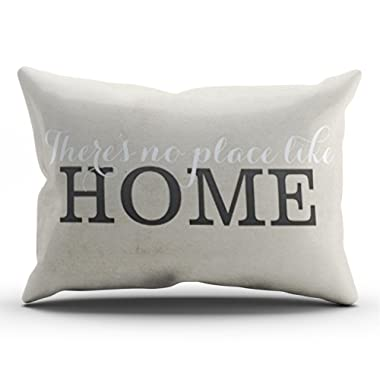 Salleing Custom Royal Modern Grey There's No Place Like Home Decorative Pillowcase Pillowslip Throw Pillow Case Cover Zippered One Side Printed 12x24 Inches