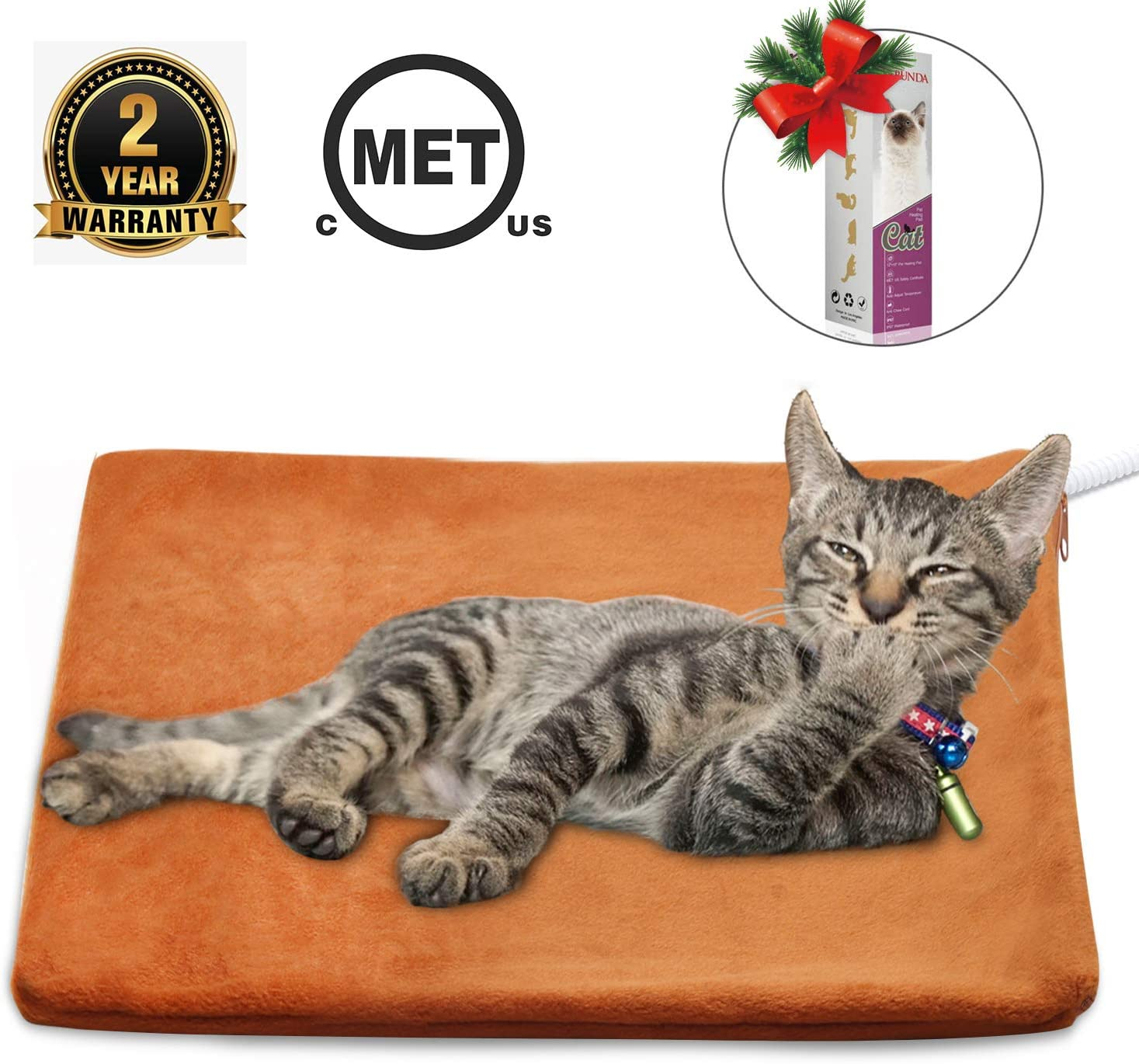 MARUNDA Pet Heating Pad,Cat Dog Electric Pet Heating Pad Indoor Waterproof,Auto Constant Temperature, Chew Resistant Steel Cord