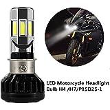 FEZZ Lampadina LED 35W H4 H6 S2 BA20D P15D25-1 per Faro Moto Lampadine Luce con Ventilatore di Raffreddamento 6 LED Hi Lo Fascio 3500Lm 6000k
