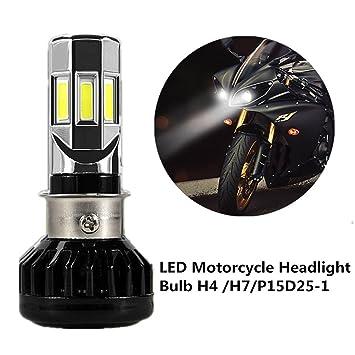 FEZZ Bombilla LED de Faro Motocicletas 35W H4 H6 S2 BA20D P15D25-1 Luz Delantera