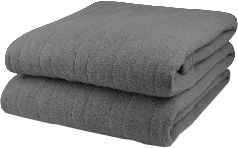 Pure Warmth Fleece Electric Heated Blanket Full Grey