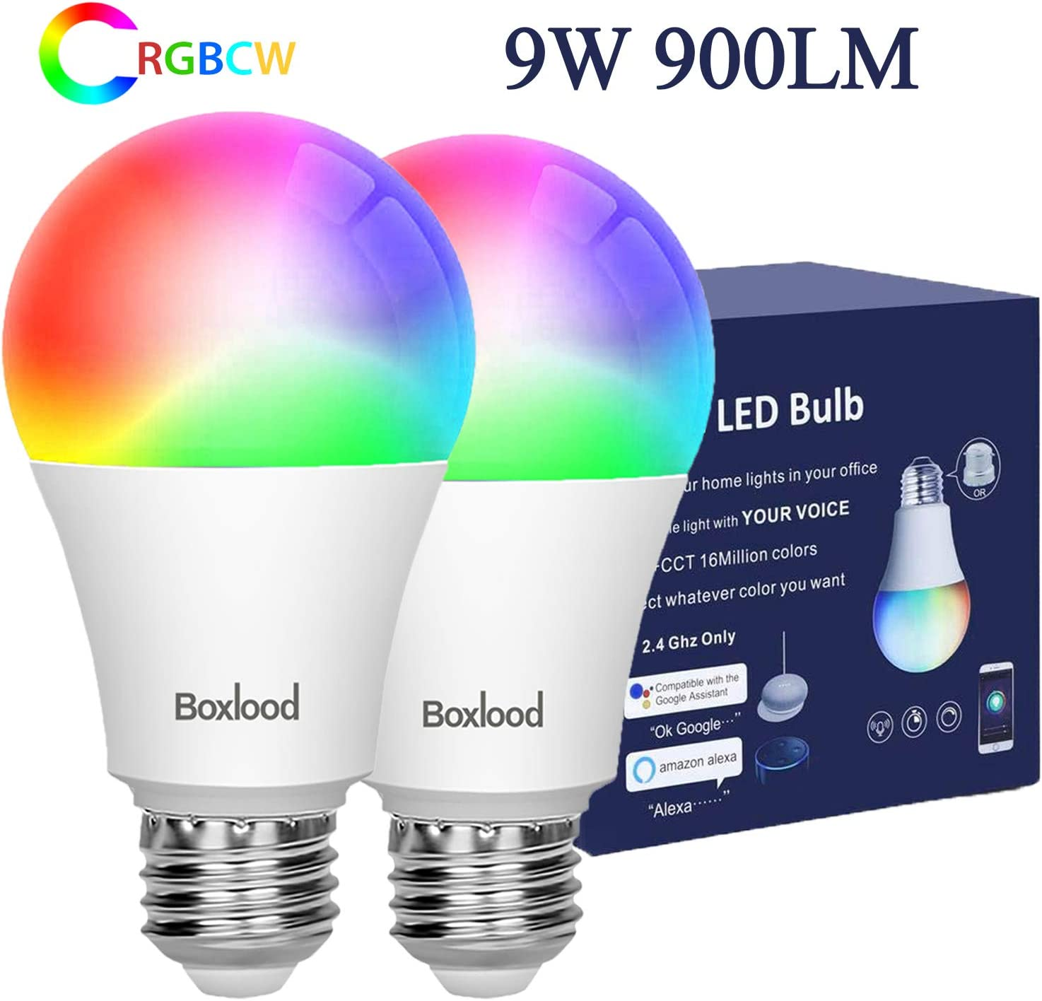 Smart WiFi Light Bulb,Compatible with Alexa,Google Home,No Hub Required,2.4GHz Only,9W 900lm (80W Equivalent),A19 E26 Base,RGBCW Color Changing,Warm White to Cool White Dimmable, 2Pack by Boxlood