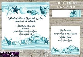 Partecipazioni matrimonio personalizzate - inviti nozze conchiglie stella marina tema mare e spiaggia disponibile in tutti i colori 10 pezzi