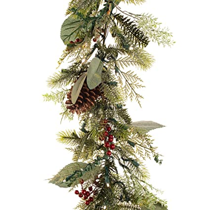 Artificial Christmas Garland.9 Foot Artificial Christmas Garland Winter Frost Collection Natural Decoration Pre Lit With 100 Warm Clear Colored Led Mini Lights Includes