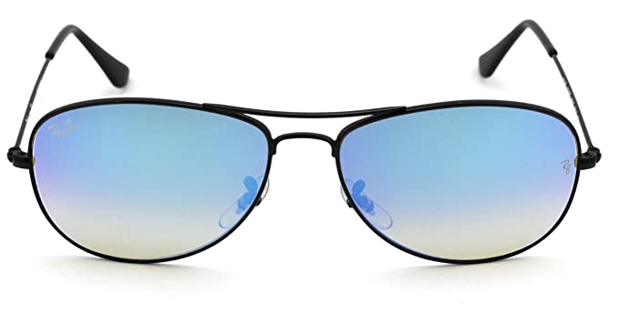 ed5a16042e Amazon.com  Ray-Ban RB3362 002 4O Cockpit Flash Series Unisex Sunglasses  (Shiny Black Frame Blue Gradient Flash Lens 002 4O