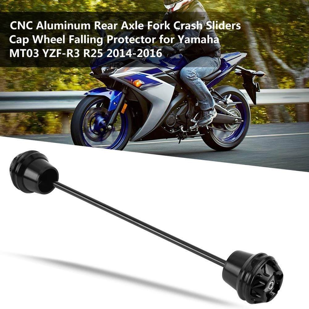 Eje Trasero Tenedor Crash Slider para MT03 YZF-R3 R25 2014-2016 EBTOOLS CNC Tenedor Trasero Crash Sliders Protector de Ca/ída de Rueda negro
