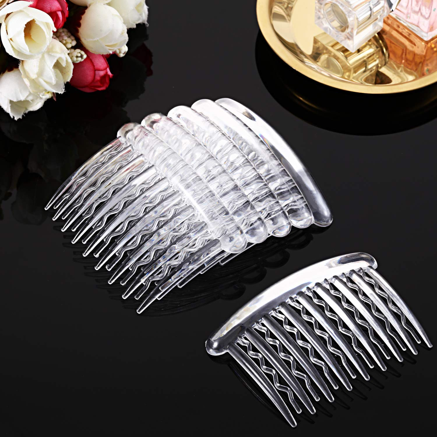 Gejoy 12 Pieces Plastic Teeth Hair Combs Tortoise Side Comb Hair Accessories for Fine Hair (Transparent) : Beauty