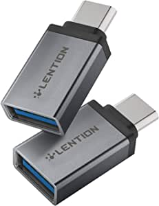 LENTION USB C to USB 3.0 Adapter (2 Pack), Type C Male to Type A Female OTG Converter Compatible 2020-2016 MacBook Pro, New iPad Pro/Mac Air/Surface, Chromebook, Phone/Tablet, More (CB-C3, Gray)